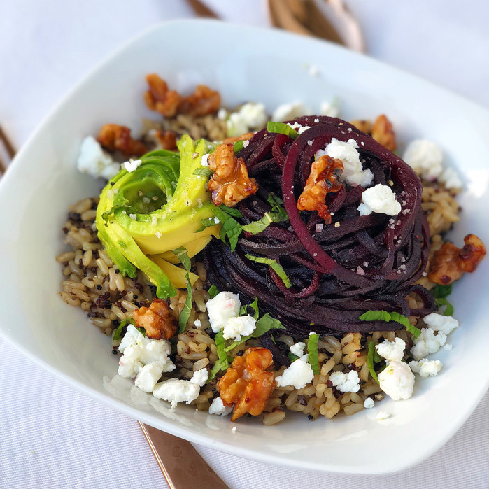 Winter Quinoa Bowl with Beets, Avocado, Goat Cheese and Mint