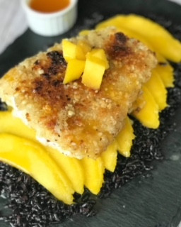 Macadamia Nut Crusted Cod with Forbidden Rice, Mangoes, and Orange Juice Reduction Sauce