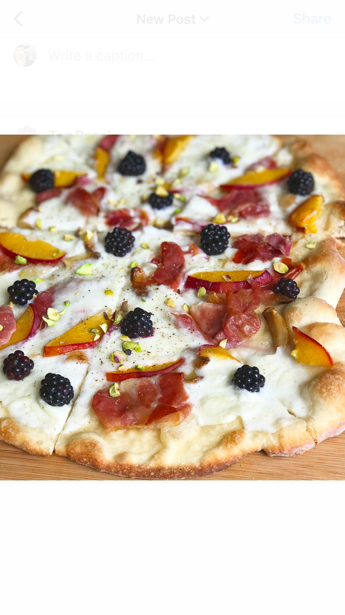 Smoked Pizza with Prosciutto, Burratta, Summer Berries and Pistachios