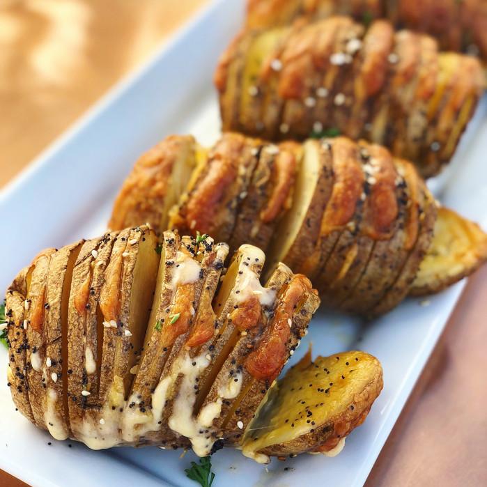 Smoked Hasselback Potatoes with Gouda and Everything Seasoning