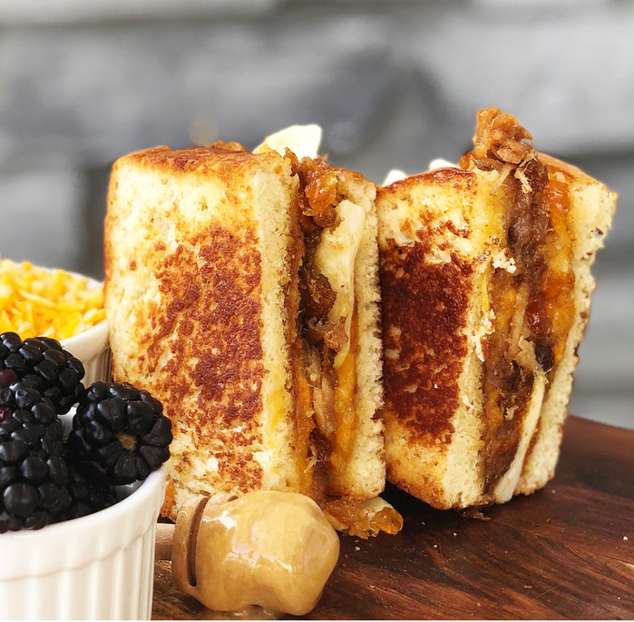 Apricot and Honey Glazed Pulled Pork, Grilled Cheese with Apples and Cheddar