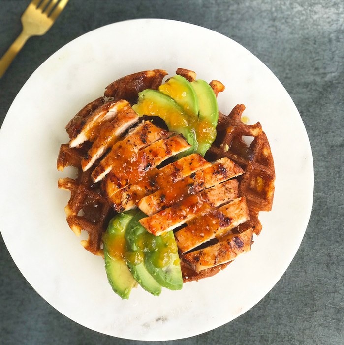 Savory Smoked Chicken and Waffles with Apricot/Whiskey syrup