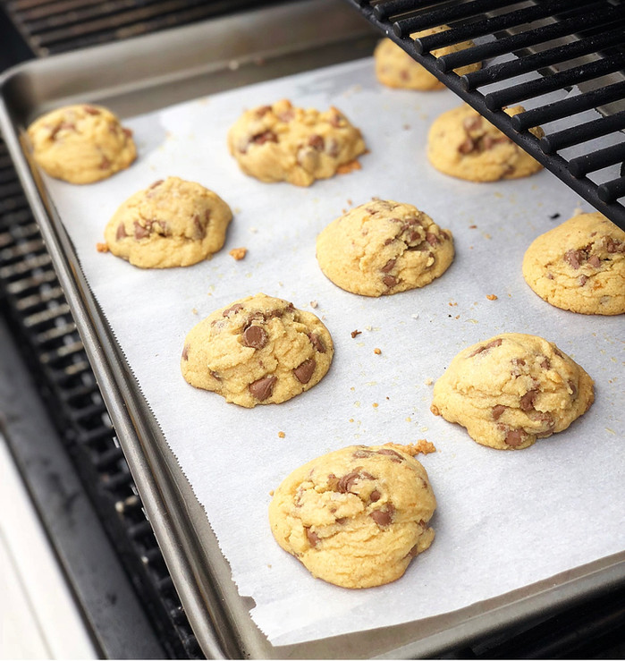 Grilled Chocolate Chip Cookies with Flake Salt