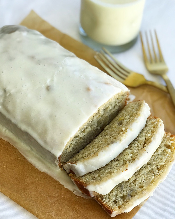 Eggnog Banana Bread with Brown Butter Eggnog Glaze