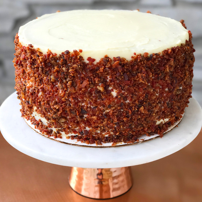 Red Velvet Cake with Cream Cheese Frosting and Bacon Sprinkles
