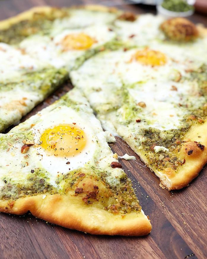 Pesto, Burrata, and over easy Egg Brunch Pizza