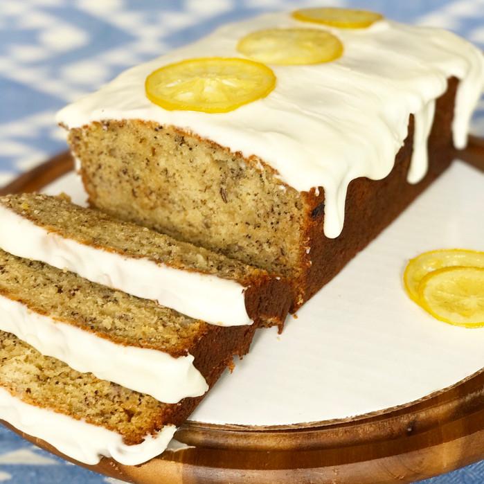 Lemon-Poppy Seed Banana Bread with a Lemon Cream Glaze and Candied Lemon Rings