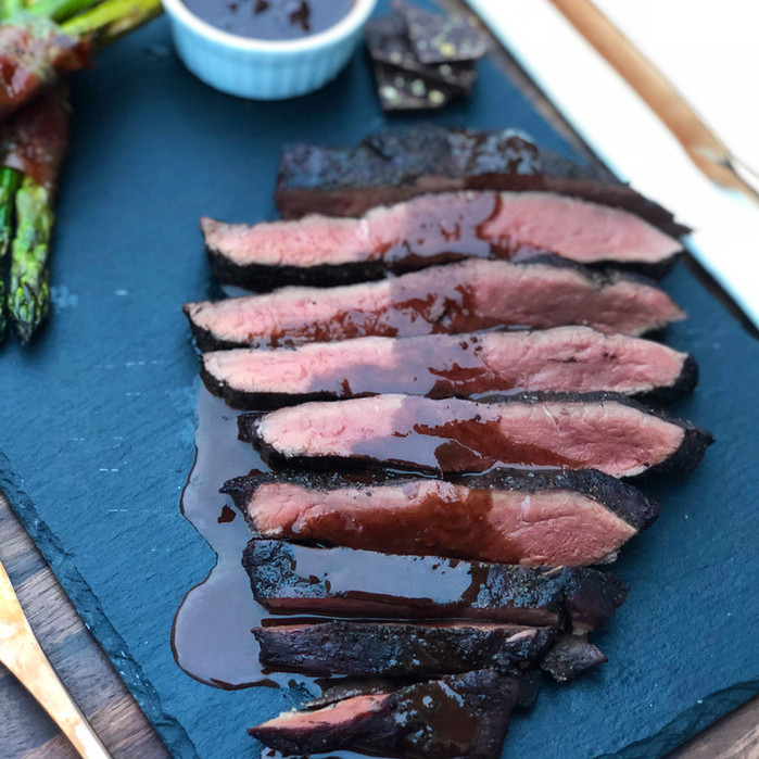 Smoked Beef Heart with Red Wine-Chocolate Sauce