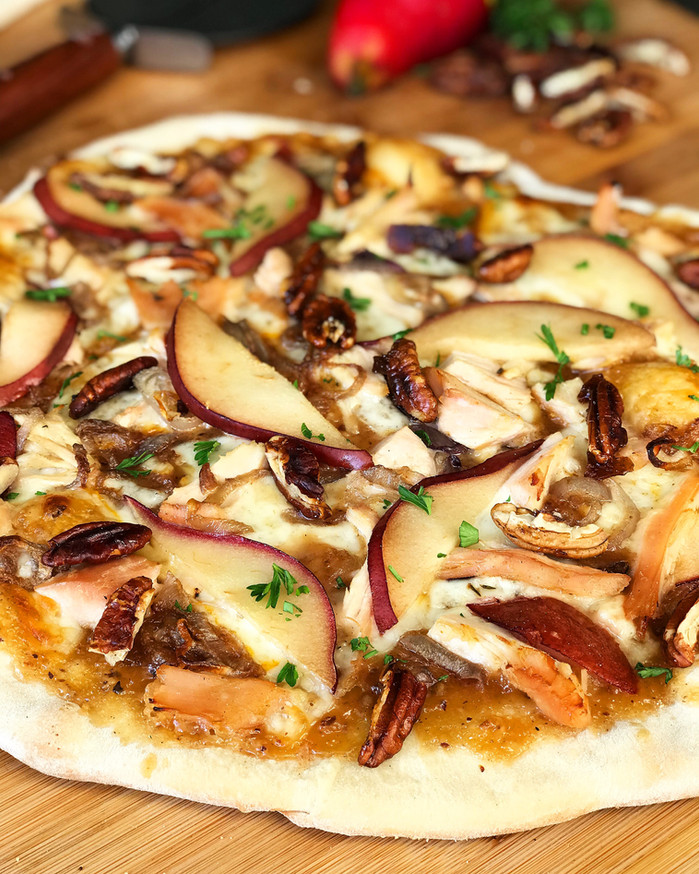 Smoked Pizza with Turkey, Honey Mustard, Pears, and Pecans