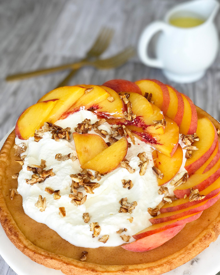 Peaches and Cream German Pancakes with Cinnamon Candied Almonds