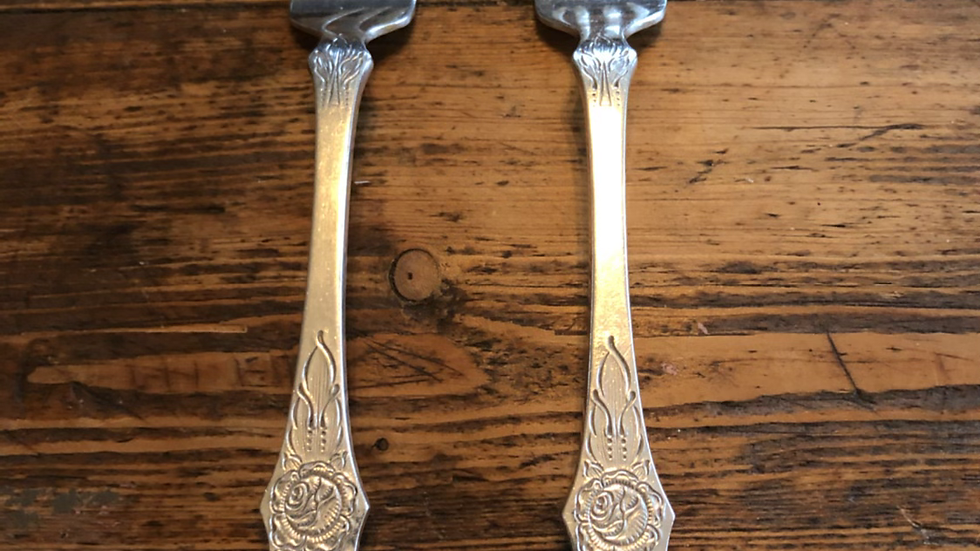 Flat rose gaffel i sølv