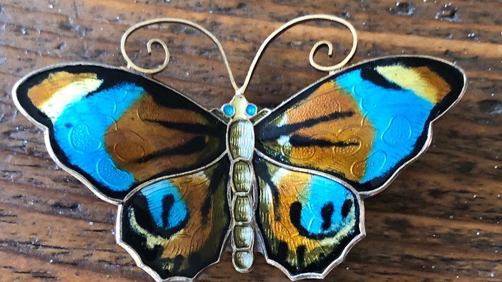 David-Andersen sommerfugl i sølv og emalje
