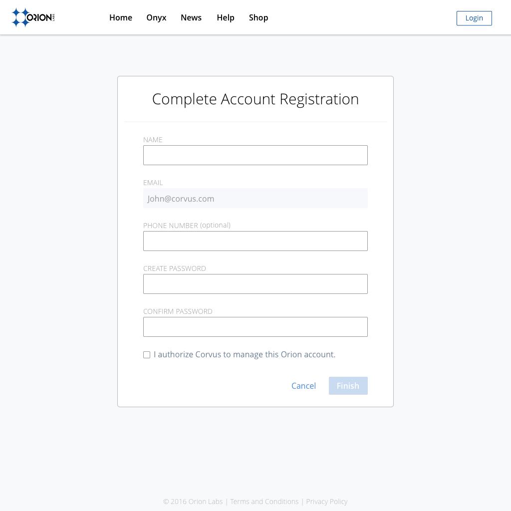 Create Account (Empty)