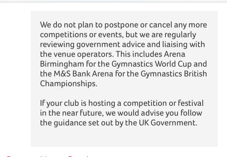 British Gymnastics' information regardiding the virus on their website