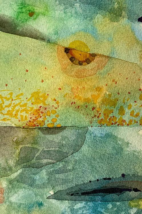 "Watercolor Bookmark -16 (6"" x 3"")"