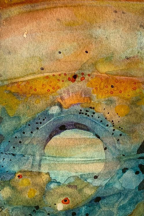 "Watercolor Bookmark -14 (6"" x 3"")"
