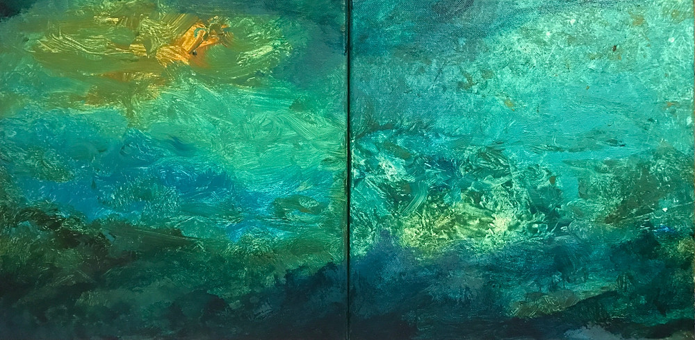 "Qualia #1, acrylic on canvas, two 12"" x 12"" panels."