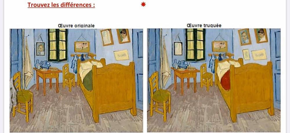 Faisons travailler notre cerveau en cherchant les différences dans le tableau de Van Gogh « La chambre »