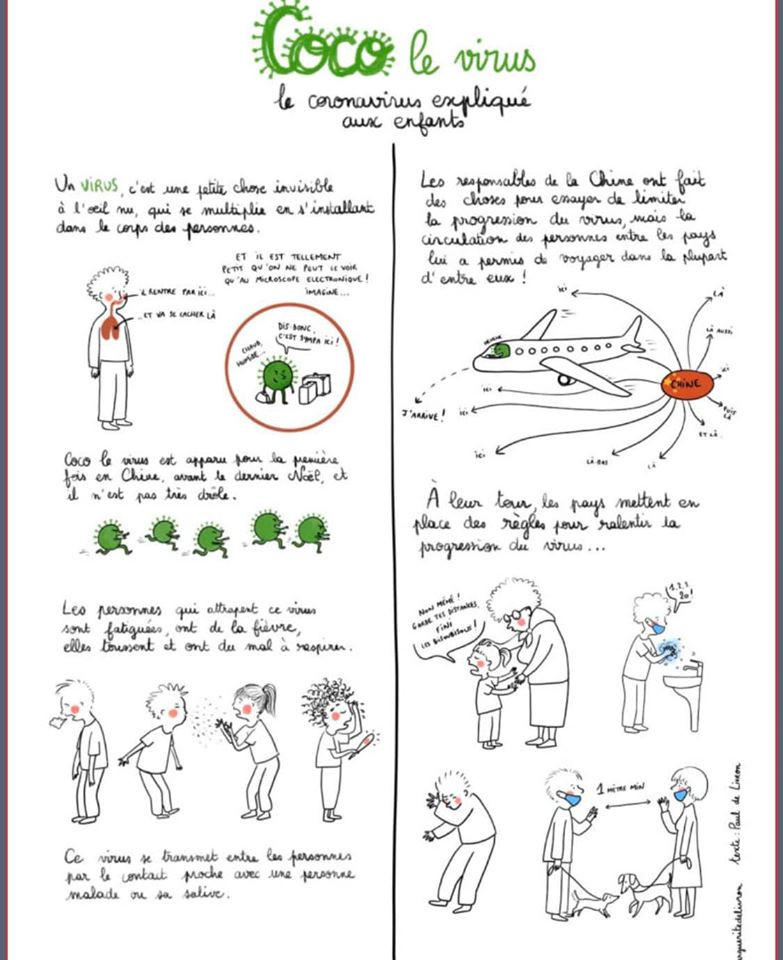 Partageons : Aidons les enfants à mettre des mots sur la situation simplement : une psychomotricienne a réalisé ce document exploitons-le avec les petits pour limiter l'angoisse et pour les inviter à observer les bonnes pratiques.  Merci pour ce support
