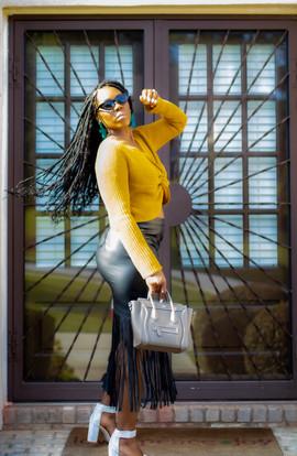 Yellow Sweater Black Skirt