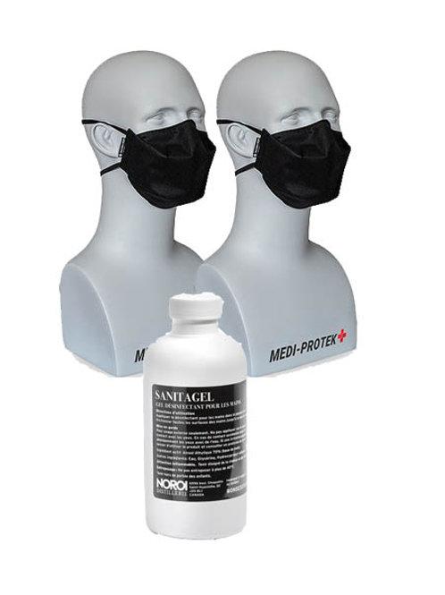 Combo 2 Masques + 1 Gel Antiseptique 250 ML