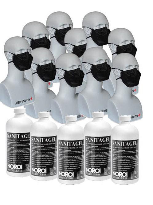 Combo 10 Masques + 5 Gel Antiseptique 500 ML