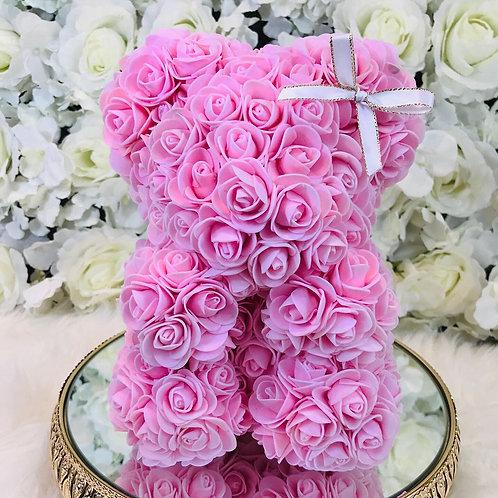 "10"" Belle Pink Rose Bear"