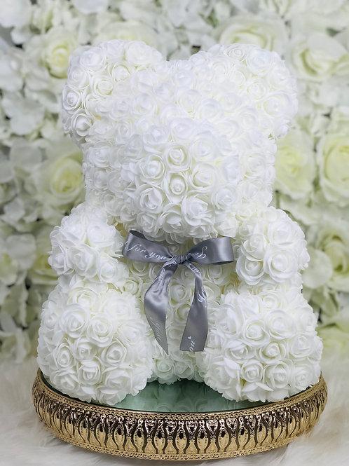 """15"""" Belle White Rose Bear"""