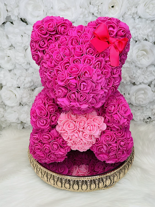 "15"" Belle  Fuchsia Pink Heart Rose Bear"