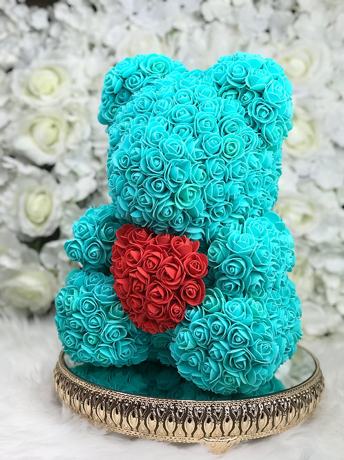 "15"" Belle Turquoise Red Heart Rose Bear"