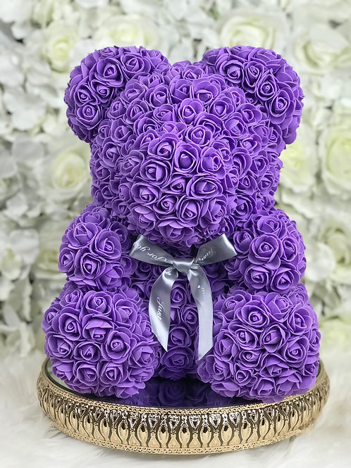 "15"" Belle Purple Rose Bear"