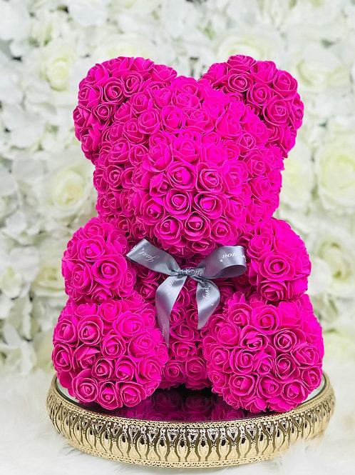 """15"""" Belle Fuchsia Rose Bear"""
