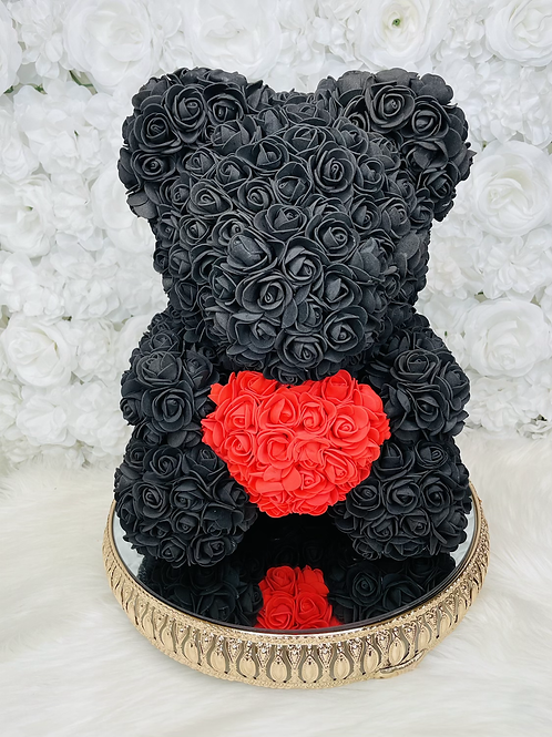 """15"""" Belle Black Red Heart Rose Bear"""