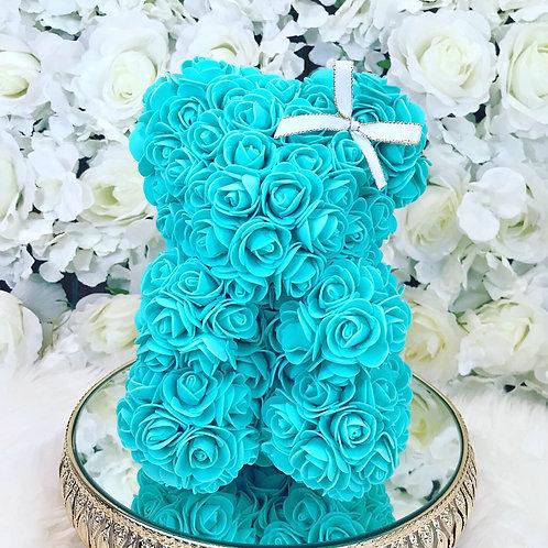 "10"" Belle Turquoise Rose Bear"