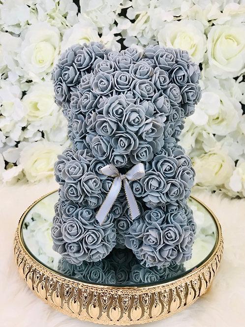"""10"""" Belle Gray Rose Bear"""