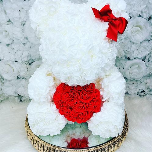 """15"""" Belle White Red Heart Rose Bear"""