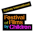 A black silhouette of clapperboard. Inside the image are the words 'Sydney International Festival of Films by Children' in yellow, orange, green, blue and pink.