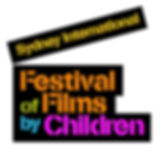 A black silhouette of clapperboard. Inside the image are the words 'Sydney Internationl Festival of Films by Children' in yellow, orange, green, blue and pink.