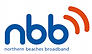 The letters nbb in dark blue sit above the words Northern Beaches Broadband. At the top right are two curved orange lines referencing wifi.