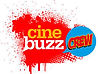 The Event Cinemas Cinebuzz Crew logo. Red, white and yellow text on background of red spraypaint and a blue speech bubble.