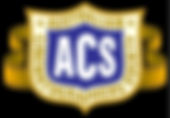 The Australian Cinematographes Society logo. The text sits in the image of a shied with strips of film billowing out the sides like ribbons.