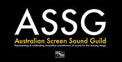 The Australian Screen Sound Guild. White and yellow text in a black box.