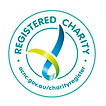 The Registered Charity logo. A green and blue ribbon like image within two green circles. The text reads 'Registered Charity' and their website address.