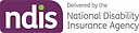The letters NDIS sit white text within a purple rectangular shape. The 'i' is dotted in green. To the right it reads 'Delivered by the National Disability Insurance Agency'.