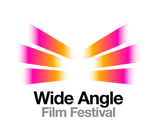 Above the black and grey words 'Wide Angle Film Festival', 6 rays of pink and orange light radiate from the centre outwards.