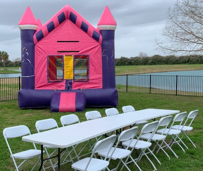 Pink Castle and Chair Setup