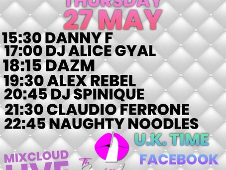 Thursday 27 May Restream replays