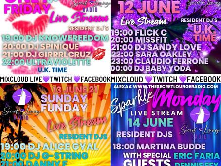 Weekend live Stream Line Up  11-14 June 21🎉🎶🥳💜🙌