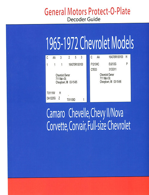 Chevrolet Protect-o-Plate Decoder