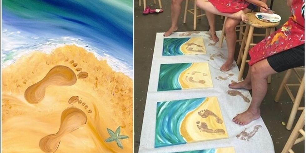 Kids Art Club - Sand Painting - Beach landscape with footprints
